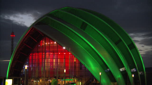 Exterior wide shots of the SSE Hydro SECC Clyde Auditorium aka Armadillo buildings lit up at night The Hydro Armadillo Venues Lit Up at Night on...