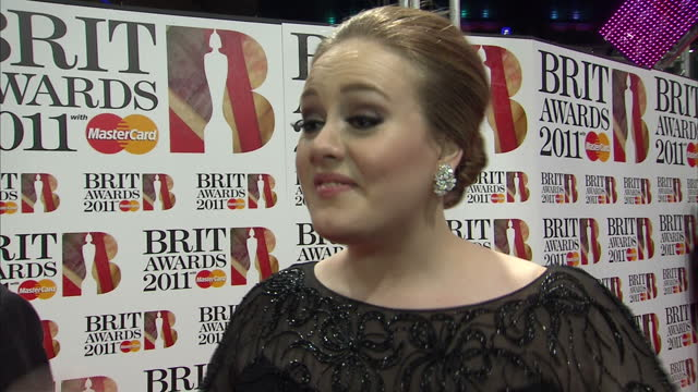 Exteriors of Adele speaking to Sky News reporter Lucy Cotter on Brit Awards red carpet Brit Awards red carpet interviews at O2 Arena on February 15...