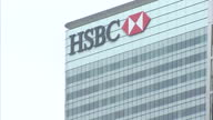 Exteriors of HSBC building in Canary Wharf on a cloudy overcast day on February 15 2015 in London England