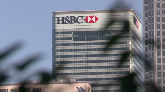 Exteriors of the HSBC building in Canary Wharf on a clear sunny day on February 09 2015 in London England