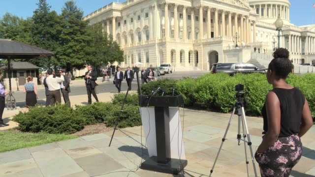 Exteriors of the US Capitol from the house side / house triangle as Democrats prepare for a press conference on Pres Trump's promise to build the...