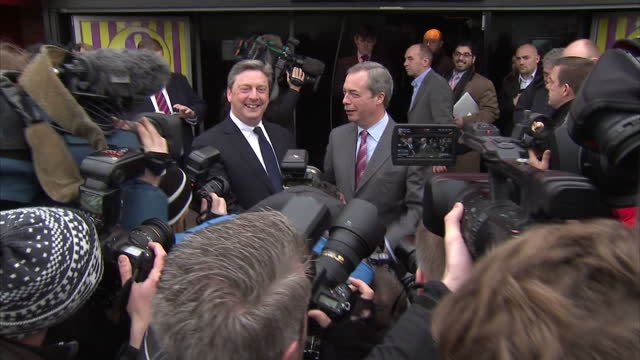 Exteriors of UKIP leader Nigel Farage standing in front of press on February 12 2015 in Castle Point England
