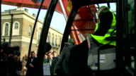 Exteriors shows Boris Johnson Mayor of London in earth mover excavator on trip to hospital in Tower Hamlets on March 20 2014 in London England