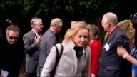 Exteriors shows Prince Charles and Camilla Duchess of Cornwall meeting with Mayor of Yalding and other representatives outside of church on March 20...