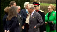 Exteriors shows Prince Charles Prince of Wales and Camilla Duchess of Cornwall meeting with local people dignitaries and school children on March 20...
