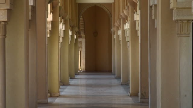 External hallway by Hassan II Mosque gardens, Casablanca, backzoom
