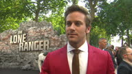 External interview with Armie Hammer speaking about being sent to 'cowboy camp' to prepare for 'The Lone Ranger' and when describing the film...