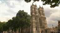 External shot of Westminster Abbey with audio of the bells being rung in celebration of the birth of the Duke and Duchess of Cambridge's son...