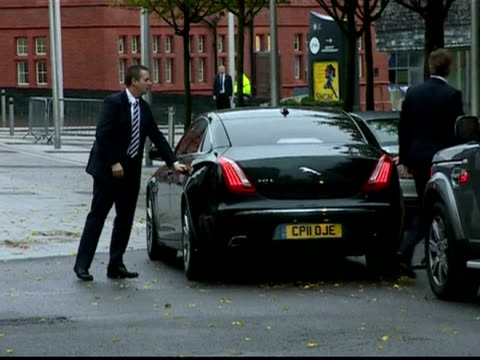 External shots of British Prime Minister David Cameron and Deputy Prime Minister Nick Clegg arriving in Cardiff for a meeting at the Senedd with...