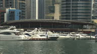 External shots of luxury yachts docked at the Dubai Marina Yacht Club Dubai Stockshots on April 28 2013 in Dubai United Arab Emirates