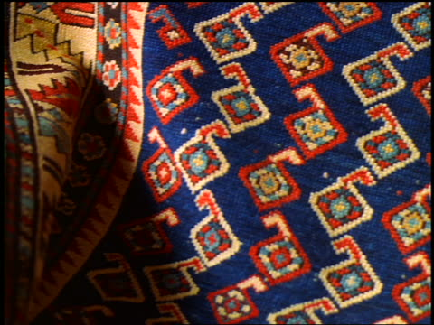 extreme close up PAN designs on Oriental rug / Istanbul, Turkey