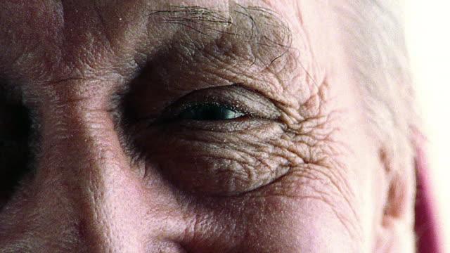 extreme close up eyes of senior man