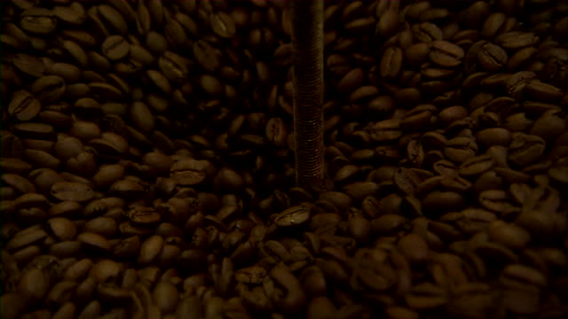Extreme close up of coffee beans moving through grinder.