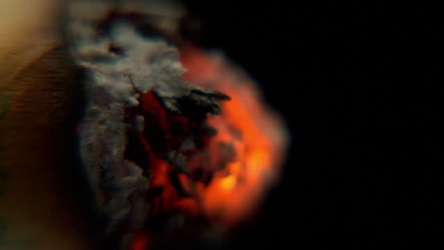 Extreme close up Timelapse smoking cigarette burning slowly