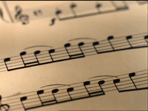 extreme close up tracking shot over sheet music