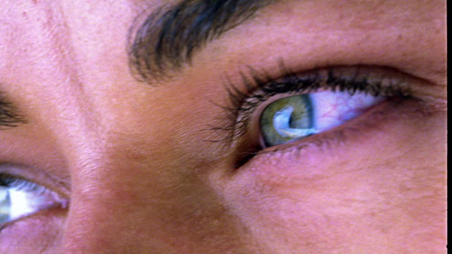 extreme close up woman's eyes looking into camera