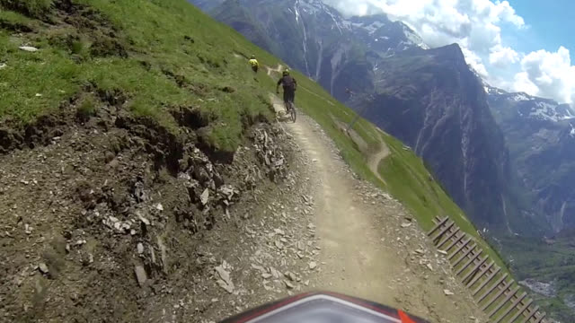 Extreme downhill biking in the mountains