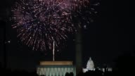 Extreme long shot Lincoln Memorial Fireworks light up the sky over the Lincoln Memorial Washington Monument and the US Capitol on July 4 2013 in...