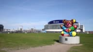 Extreme long shot of o2 world with teddy bear statue in foreground General View O2 World Berlin at O2 World on April 21 2013 in Berlin Federal...