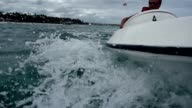 Extreme sport. Summer. Navigating a speed boat. Blue Water