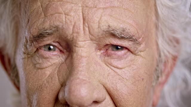 Eyes of a sad senior Caucasian man
