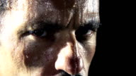 HD SUPER SLOW MO: Face All Covered With Sweat