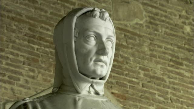 Face of a stone statue of Italian mathematician Leonardo Fibonacci, Pisa. Available in HD.