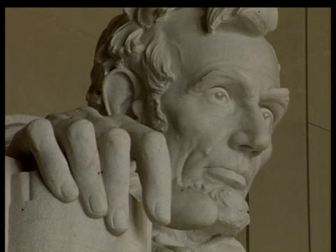 Face of Lincoln on Lincoln Memorial statue Washington DC