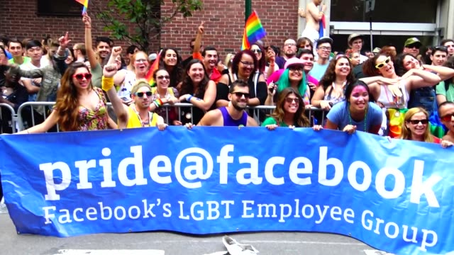 Facebook's LGBT Employee Group parade during the annual New York City Gay Pride Parade / The parade celebrates the Supreme Court decision to...