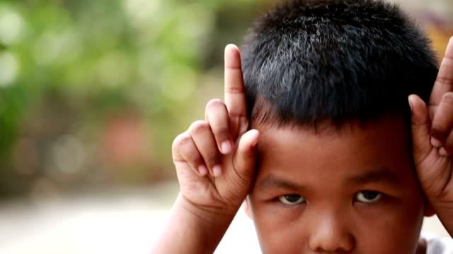 Faces of Asian boy
