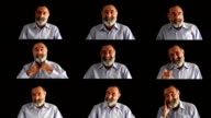 Facial expressions montage of old man with beard, black background
