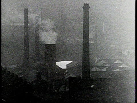 MONTAGE factories and smokestacks in British industrial cities / United Kingdom