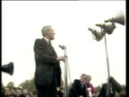 Tony Benn attends peace rally ENGLAND London Hyde Park EXT Rally in Hyde Park Tony Benn MP addressing rally SOT None at all / the BBC News and ITN...
