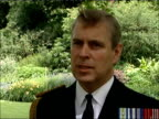 25th anniversary Duke of York interview ENGLAND Buckingham Palace EXT Prince Andrew Duke of York interview SOT On importance of occasion to say thank...