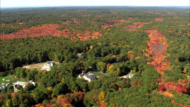 Fall Colors Near Befford  - Aerial View - Massachusetts,  Middlesex County,  United States