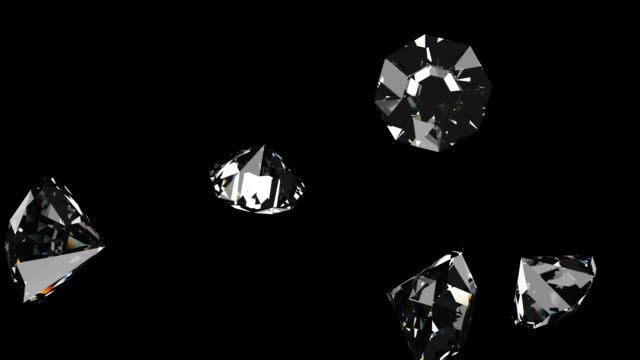 Falling diamonds, black background, 3d animation