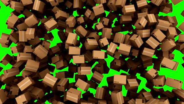 HD: Falling down kartonnen doos met Green Screen.