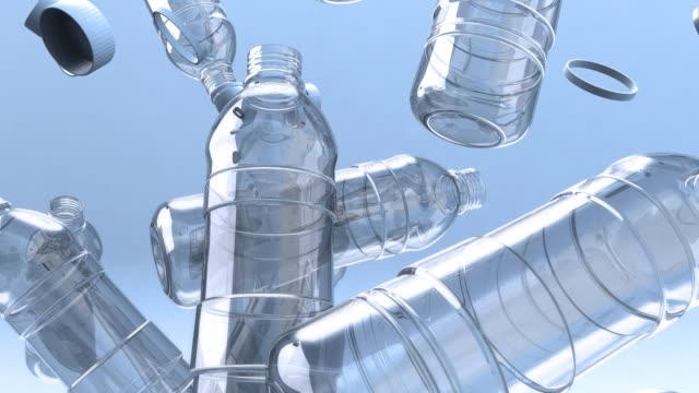 Falling empty water bottles
