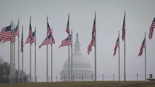 Fallout from sacking of FBU Director James Comey continues Washington DC EXT View of the dome of the Capitol Building with rows of US flags flying in...