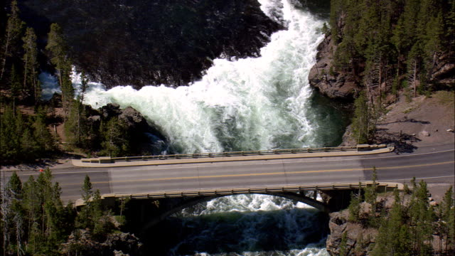 Falls By Grand Loop Road  - Aerial View - Wyoming,  Park County,  helicopter filming,  aerial video,  cineflex,  establishing shot,  United States