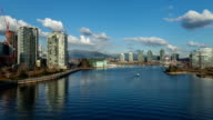 False Creek floating Hyperlapse / timelapse shot, showing Downtown Vancouver, BC Place and Science World