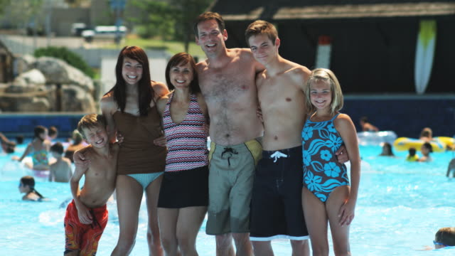 family at a water park