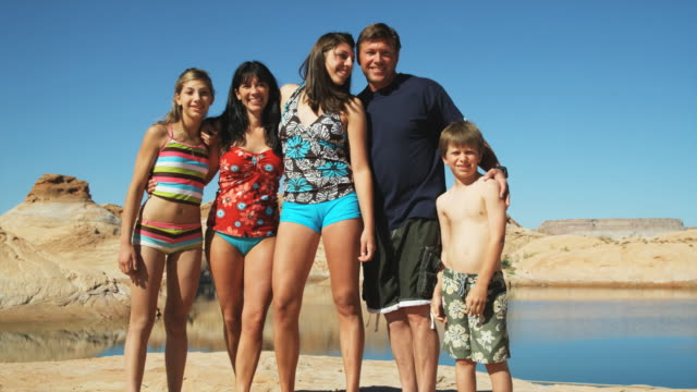family at the lake