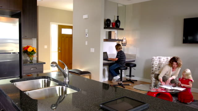 Family Does Homework, Contemporary Home