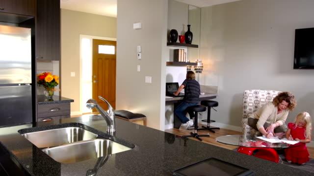 Family Doing Homework, Contemporary Home