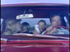 1974 MONTAGE Family driving carelessly and falling down from cliff, Los Angeles, California, USA