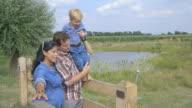 Family enjoying in rural area