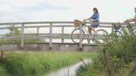 Family enjoying on footbridge