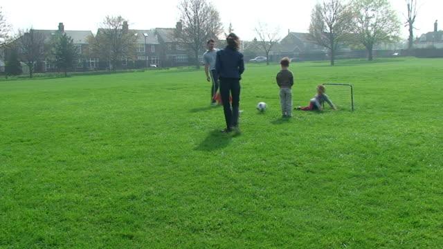 Family football morning in park