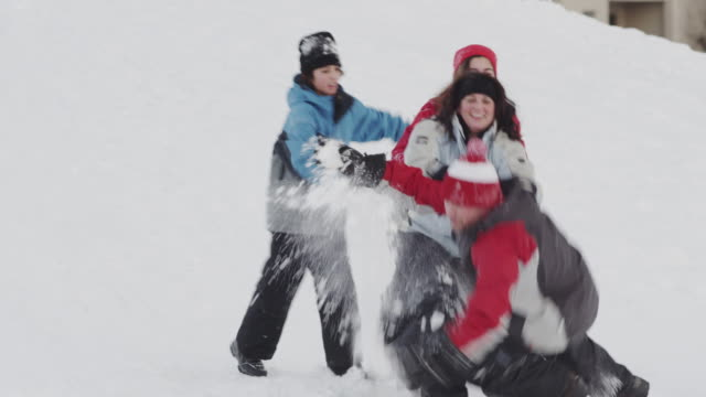 Family fun in the winter on snow
